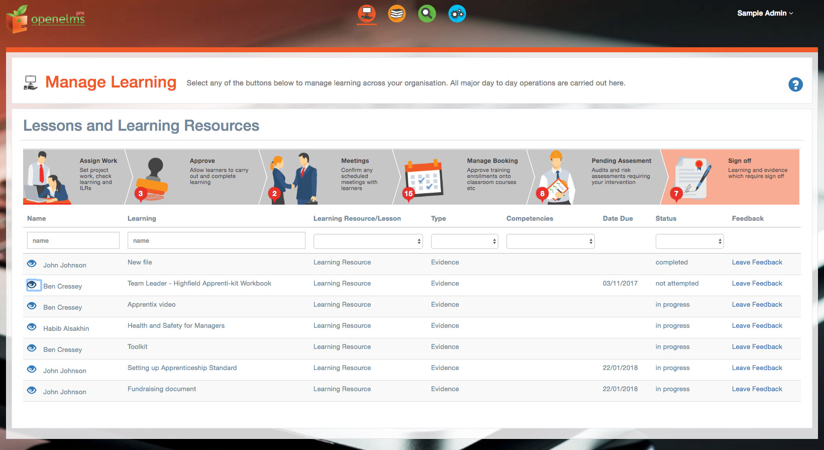 calendar control alerts management of key learning tasks