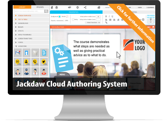Jackdaw Cloud e-learning authoring software